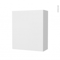 Armoire de salle de bains - Rangement haut - GINKO Blanc - 1 porte - Côtés décors - L60 x H70 x P27 cm