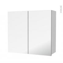 Armoire de salle de bains - Rangement haut - GINKO Blanc - 2 portes miroir - Côtés décors - L80 x H70 x P27 cm