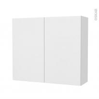 Armoire de salle de bains - Rangement haut - GINKO Blanc - 2 portes - Côtés blancs - L80 x H70 x P27 cm