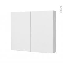 Armoire de toilette - Rangement haut - GINKO Blanc - 2 portes - Côtés décors - L80 x H70 x P17 cm