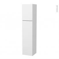 Colonne de salle de bains - 2 portes - GINKO Blanc - Côtés décors - Version A - L40 x H182 x P40 cm