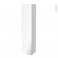 Colonne de salle de bains - 1 porte miroir - GINKO Blanc - Côtés décors - L40 x H182 x P40 cm
