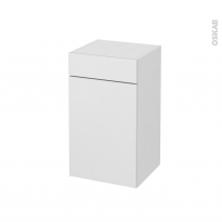 Meuble de salle de bains - Rangement bas - GINKO Blanc - 1 porte 1 tiroir - L40 x H70 x P37 cm