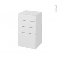 Meuble de salle de bains - Rangement bas - GINKO Blanc - 4 tiroirs - L40 x H70 x P37 cm