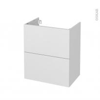 Meuble de salle de bains - Sous vasque - GINKO Blanc - 2 tiroirs - Côtés décors - L60 x H70 x P40 cm