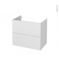 Meuble de salle de bains - Sous vasque - GINKO Blanc - 2 tiroirs - Côtés décors - L80 x H70 x P50 cm