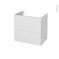 Meuble de salle de bains - Sous vasque - GINKO Blanc - 2 tiroirs - Côtés décors - L60 x H57 x P40 cm