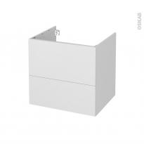 Meuble de salle de bains - Sous vasque - GINKO Blanc - 2 tiroirs - Côtés décors - L60 x H57 x P50 cm