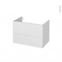 Meuble de salle de bains - Sous vasque - GINKO Blanc - 2 tiroirs - Côtés décors - L80 x H57 x P50 cm