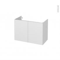 Meuble de salle de bains - Sous vasque - GINKO Blanc - 2 portes - Côtés décors - L80 x H57 x P40 cm