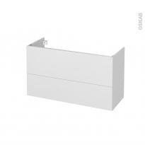 Meuble de salle de bains - Sous vasque - GINKO Blanc - 2 tiroirs - Côtés décors - L100 x H57 x P40 cm