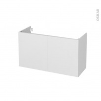 Meuble de salle de bains - Sous vasque - GINKO Blanc - 2 portes - Côtés décors - L100 x H57 x P40 cm