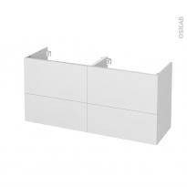 Meuble de salle de bains - Sous vasque double - GINKO Blanc - 4 tiroirs - Côtés décors - L120 x H57 x P40 cm