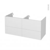 Meuble de salle de bains - Sous vasque double - GINKO Blanc - 4 tiroirs - Côtés décors - L120 x H57 x P50 cm