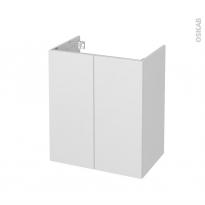 Meuble de salle de bains - Sous vasque - GINKO Blanc - 2 portes - Côtés décors - L60 x H70 x P40 cm
