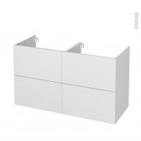 Meuble de salle de bains - Sous vasque double - GINKO Blanc - 4 tiroirs - Côtés décors - L120 x H70 x P50 cm