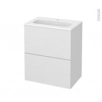 Meuble de salle de bains - Plan vasque REZO - GINKO Blanc - 2 tiroirs - Côtés décors - L60,5 x H71,5 x P40,5 cm