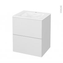Meuble de salle de bains - Plan vasque VALA - GINKO Blanc - 2 tiroirs - Côtés décors - L60,5 x H71,2 x P50,5 cm