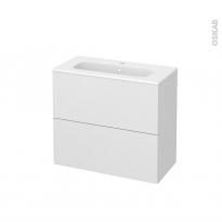 Meuble de salle de bains - Plan vasque REZO - GINKO Blanc - 2 tiroirs - Côtés décors - L80,5 x H71,5 x P40,5 cm