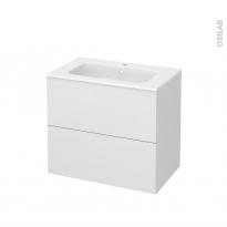 Meuble de salle de bains - Plan vasque REZO - GINKO Blanc - 2 tiroirs - Côtés décors - L80,5 x H71,5 x P50,5 cm