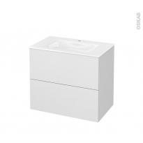 Meuble de salle de bains - Plan vasque VALA - GINKO Blanc - 2 tiroirs - Côtés décors - L80,5 x H71,2 x P50,5 cm