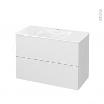 Meuble de salle de bains - Plan vasque VALA - GINKO Blanc - 2 tiroirs - Côtés décors - L100,5 x H71,2 x P50,5 cm