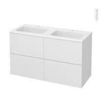 Meuble de salle de bains - Plan double vasque REZO - GINKO Blanc - 4 tiroirs - Côtés décors - L120,5 x H71,5 x P50,5 cm