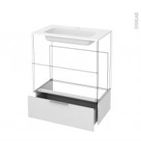 Tiroir sous meuble - Socle n°101 - GINKO Blanc - pour meuble salle de bains - L80 x H26 x P45 cm