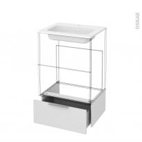 Tiroir sous meuble - Socle n°51 - GINKO Blanc - pour meuble salle de bains - L60 x H26 x P45 cm