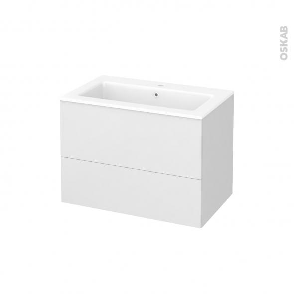 Meuble de salle de bains - Plan vasque NAJA - GINKO Blanc - 2 tiroirs - Côtés décors - L80,5 x H58,5 x P50,5 cm