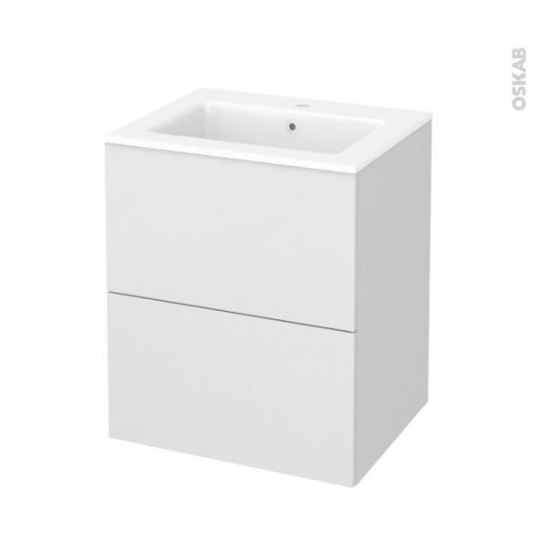 Meuble de salle de bains - Plan vasque NAJA - GINKO Blanc - 2 tiroirs - Côtés décors - L60,5 x H71,5 x P50,5 cm