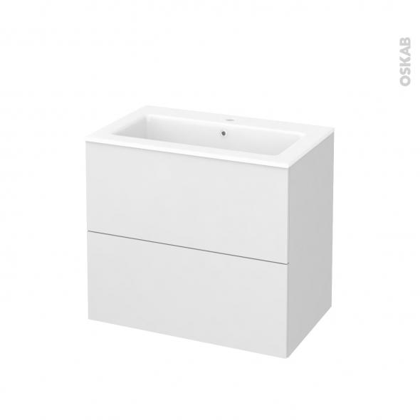 Meuble de salle de bains - Plan vasque NAJA - GINKO Blanc - 2 tiroirs - Côtés décors - L80,5 x H71,5 x P50,5 cm