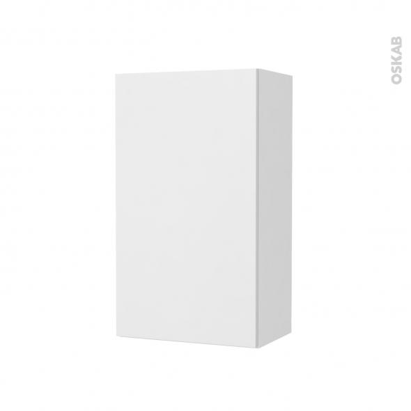 Armoire de salle de bains - Rangement haut - GINKO Blanc - 1 porte - Côtés blancs - L40 x H70 x P27 cm