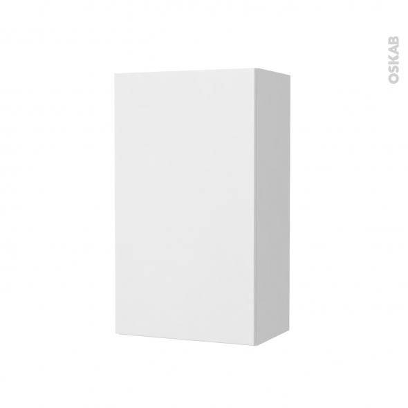 Armoire de salle de bains - Rangement haut - GINKO Blanc - 1 porte - Côtés décors - L40 x H70 x P27 cm