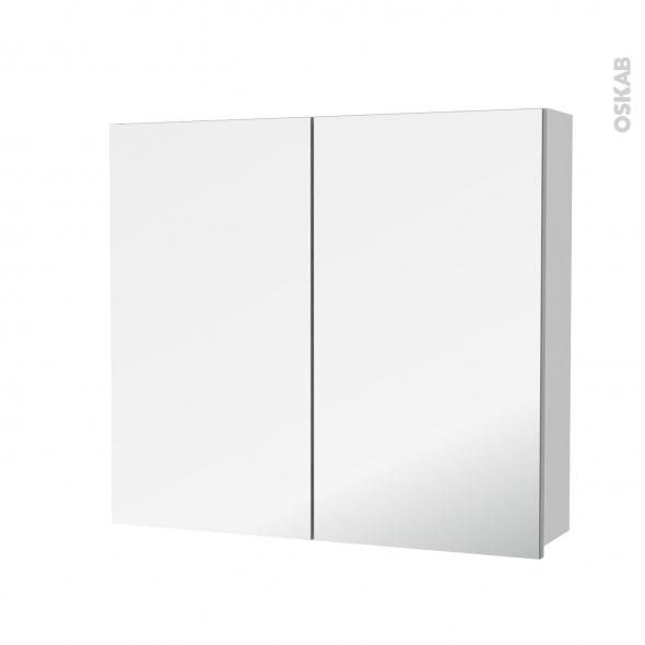 Armoire de toilette - Rangement haut - GINKO Blanc - 2 portes miroir - Côtés décors - L80 x H70 x P17 cm