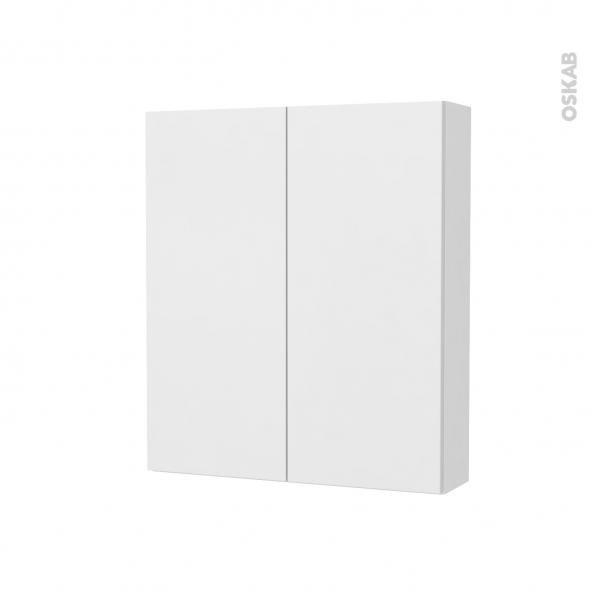 Armoire de toilette - Rangement haut - GINKO Blanc - 2 portes - Côtés blancs - L60 x H70 x P17 cm