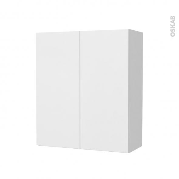 Armoire de salle de bains - Rangement haut - GINKO Blanc - 2 portes - Côtés décors - L60 x H70 x P27 cm