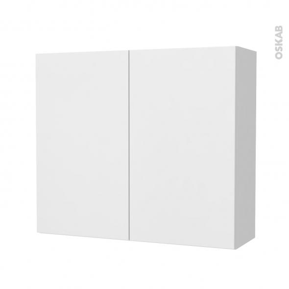 Armoire de salle de bains - Rangement haut - GINKO Blanc - 2 portes - Côtés décors - L80 x H70 x P27 cm
