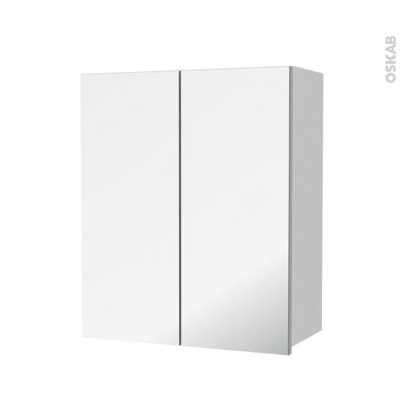 Armoire de salle de bains - Rangement haut - GINKO Blanc - 2 portes miroir - Côtés décors - L60 x H70  xP27 cm