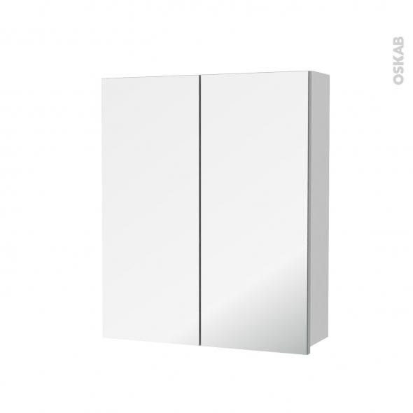 Armoire de toilette - Rangement haut - GINKO Blanc - 2 portes miroir - Côtés décors - L60 x H70 x P17 cm
