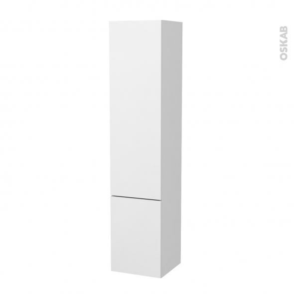 Colonne de salle de bains - 2 portes - GINKO Blanc - Côtés décors - Version B - L40 x H182 x P40 cm