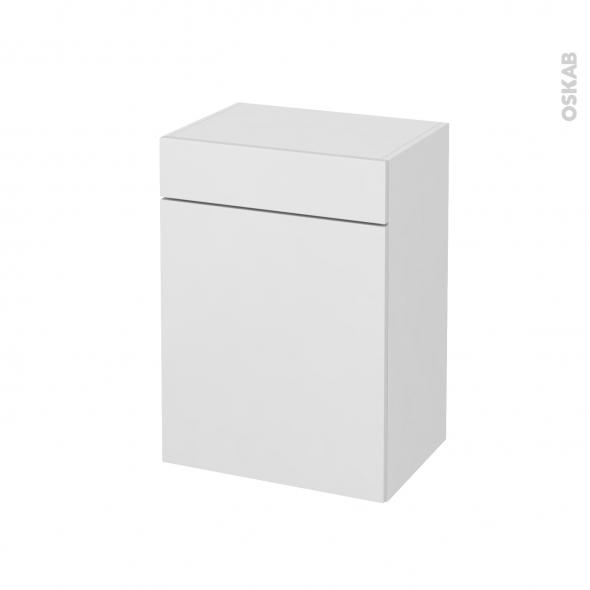 Meuble de salle de bains - Rangement bas - GINKO Blanc - 1 porte 1 tiroir - L50 x H70 x P37 cm