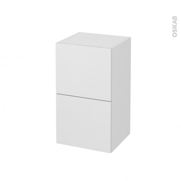 Meuble de salle de bains - Rangement bas - GINKO Blanc - 2 tiroirs - L40 x H70 x P37 cm