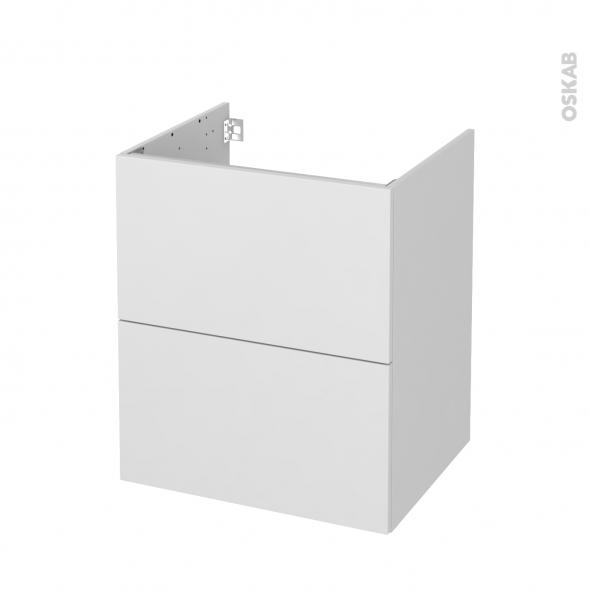Meuble de salle de bains - Sous vasque - GINKO Blanc - 2 tiroirs - Côtés décors - L60 x H70 x P50 cm