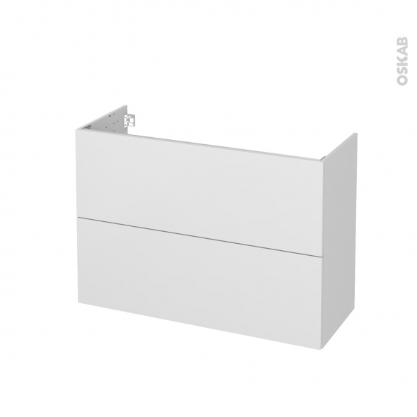 Meuble de salle de bains - Sous vasque - GINKO Blanc - 2 tiroirs - Côtés décors - L100 x H70 x P40 cm