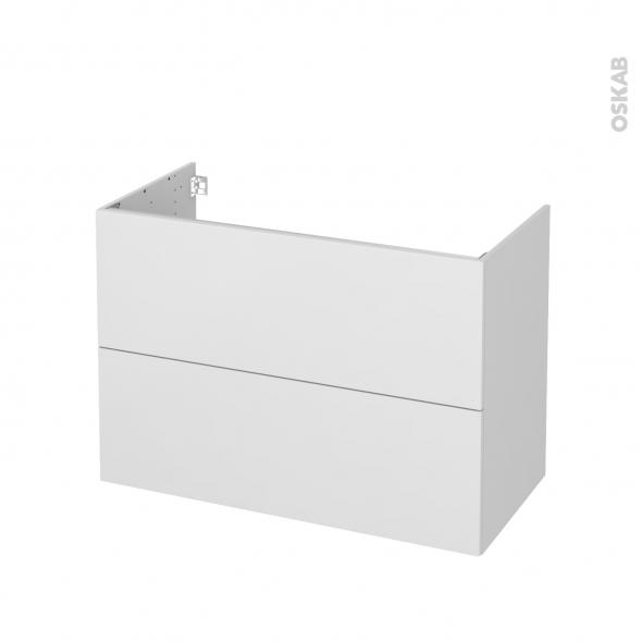 Meuble de salle de bains - Sous vasque - GINKO Blanc - 2 tiroirs - Côtés décors - L100 x H70 x P50 cm