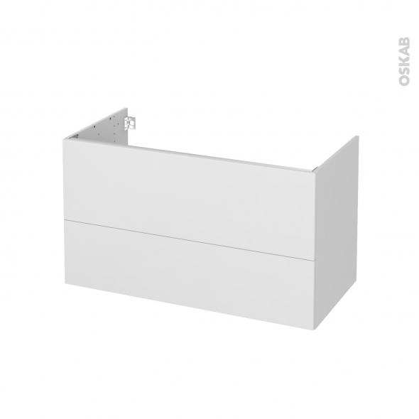 Meuble de salle de bains - Sous vasque - GINKO Blanc - 2 tiroirs - Côtés décors - L100 x H57 x P50 cm