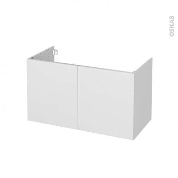 Meuble de salle de bains - Sous vasque - GINKO Blanc - 2 portes - Côtés décors - L100 x H57 x P50 cm