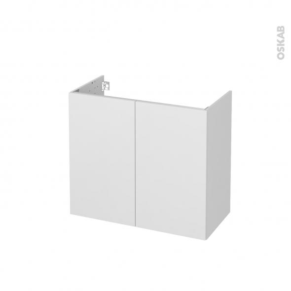Meuble de salle de bains - Sous vasque - GINKO Blanc - 2 portes - Côtés décors - L80 x H70 x P40 cm