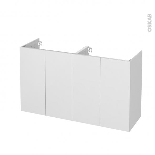 Meuble de salle de bains - Sous vasque double - GINKO Blanc - 4 portes - Côtés décors - L120 x H70 x P40 cm